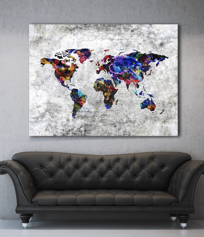 Home Decor Wall Art: The World Wall Art (Wood Frame Ready To Hang)