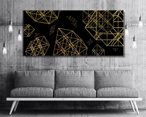 Home Decor Wall Art: Golden Triangle Luxe Art  (Wood Frame Ready To Hang)