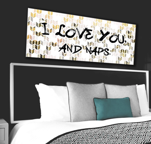 Bedroom Decor Wall Art: Love And Naps Luxe Art  (Wood Frame Ready To Hang)