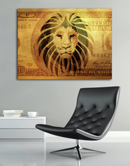 Home Decor Wall Art: Lion Bill Canvas (Wood Frame Ready To Hang)