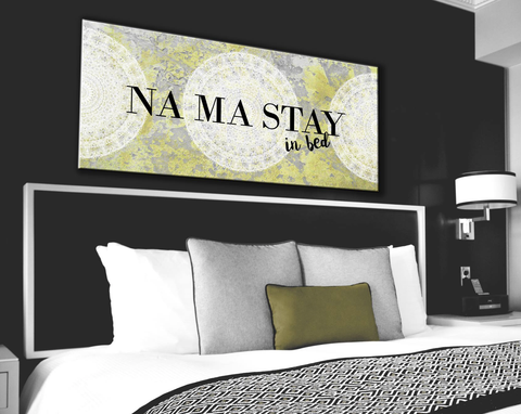 Bedroom Decor Wall Art: Namaste In Bed Wall Art  (Wood Frame Ready To Hang)
