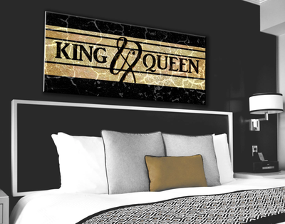 Couples Wall Art: King And Queen Bedroom Wall Art (Wood Frame Ready To Hang)