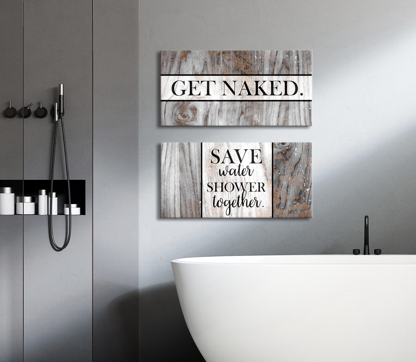 Bathroom Wall Art: 2 Piece Funny Bathroom Wall Art Set (Wood Frame Ready To