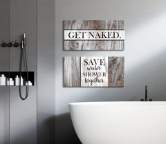 Bathroom Decor Wall Art: 2 Piece Funny Bathroom Wall Art Set (Wood Frame Ready To Hang)