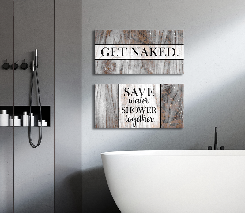 Bathroom Wall Art: 2 Piece Funny Bathroom Wall Art Set (Wood Frame Ready To Hang)