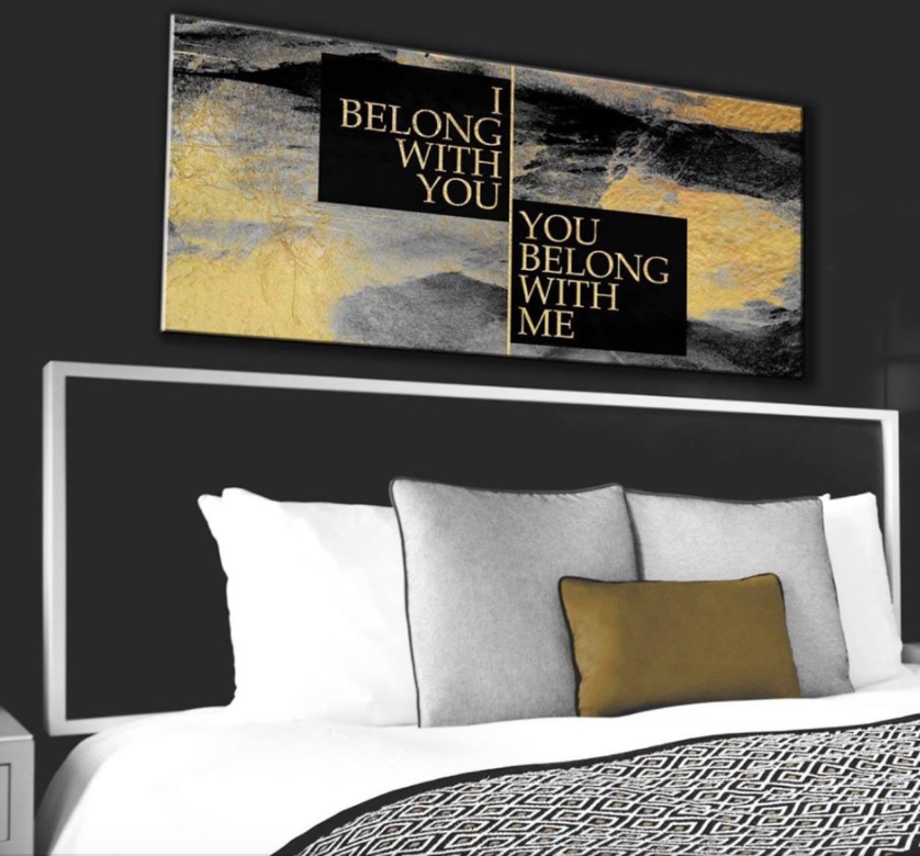 Bedroom Decor Wall Art: Belong Together Wall Art  (Wood Frame Ready To Hang)