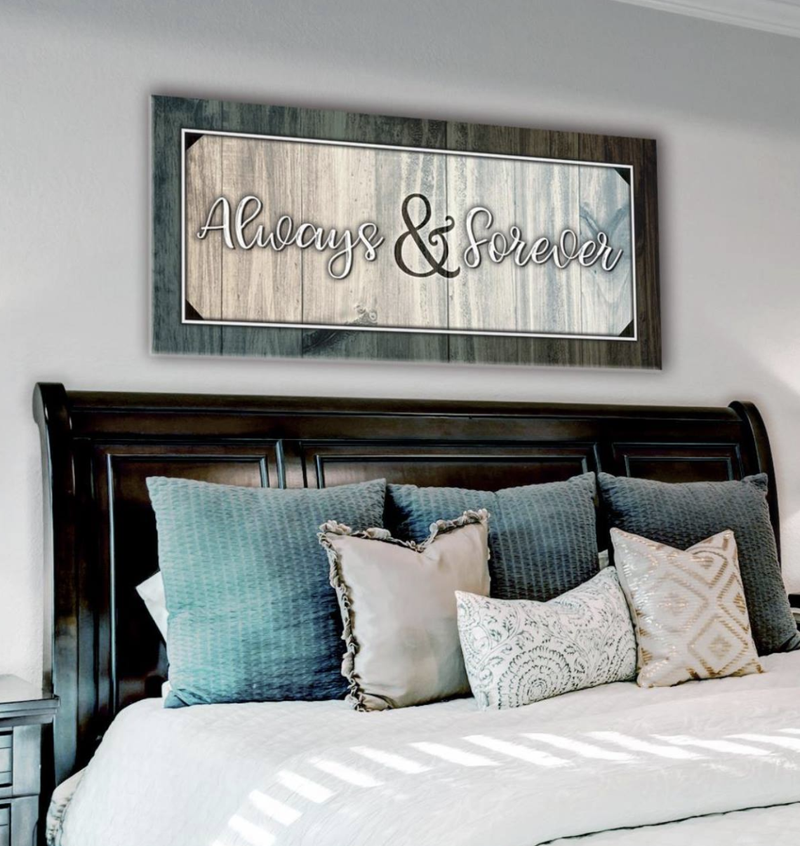 Bedroom Wall Art: Forever And Always Wall Art 2 Sizes Available (Wood Frame Ready To Hang)