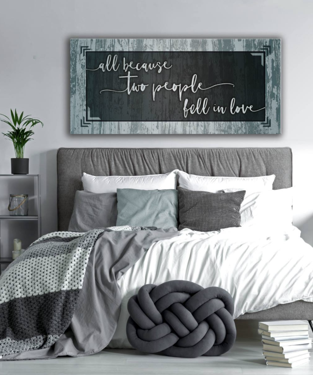 Bedroom Wall Art: Two People Wall Art 2 Sizes Available (Wood Frame Ready To Hang)