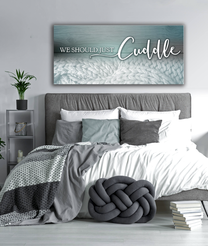 Bedroom Wall Art: Cuddle Wall Art 2 Sizes Available (Wood Frame Ready To Hang)