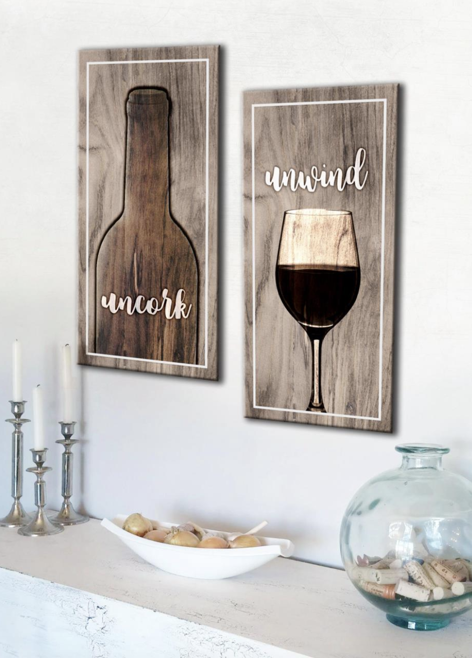 Kitchen Wall Art: Wine Lovers 2 Piece Wall Art (Wood Frame Ready To Hang)
