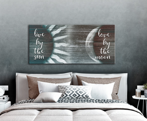 Bedroom Decor Wall Art: Live By The Sun And Love By The Moon  (Wood Frame Ready To Hang)