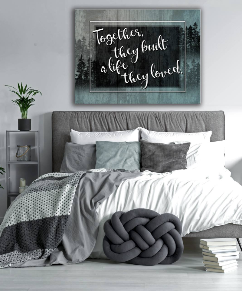 Bedroom Wall Art: Build A Life Together Large Wall Art 2 Sizes Available (Wood Frame Ready To Hang)