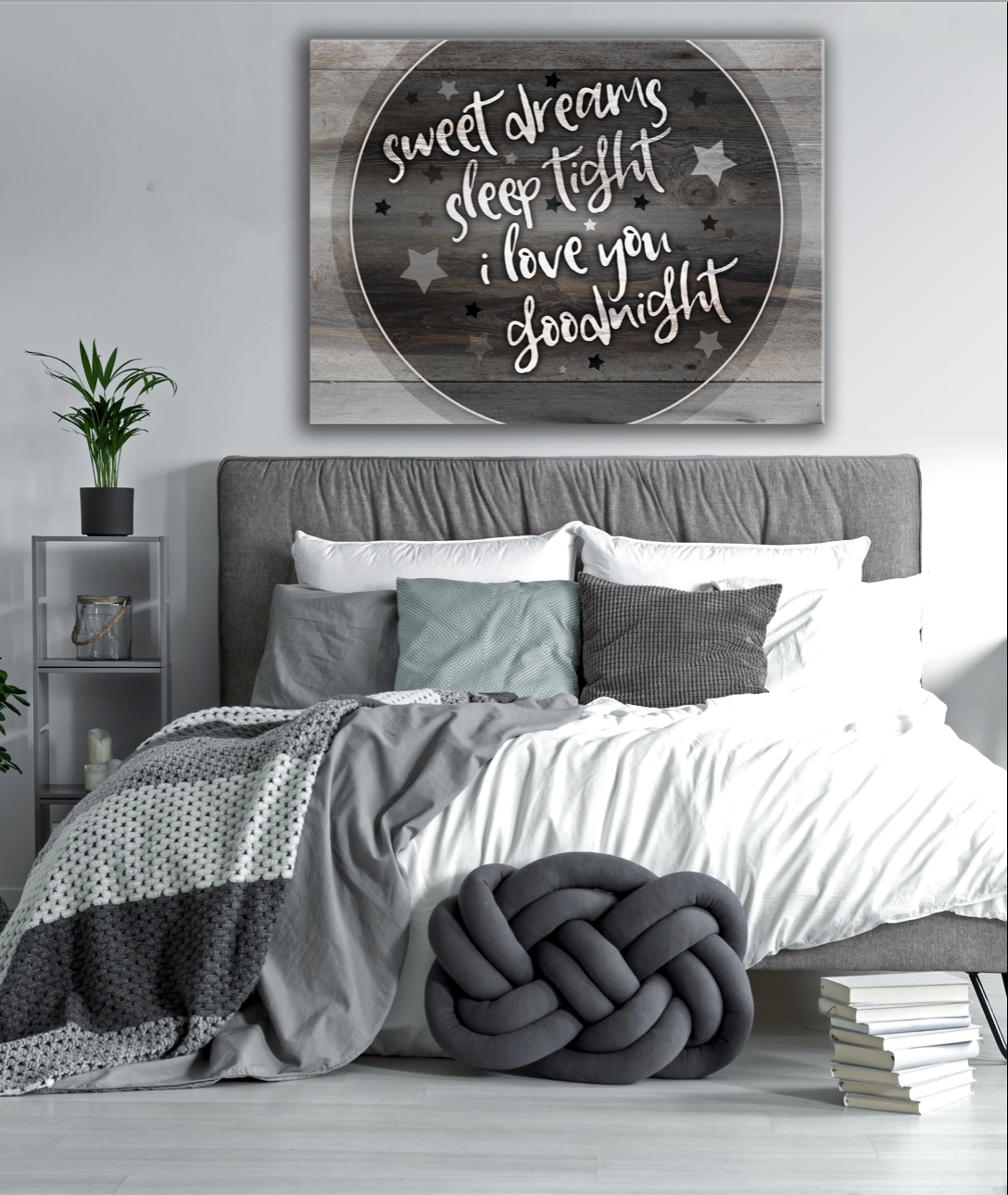 Bedroom Wall Art: I Love You Goodnight (Wood Frame Ready To Hang)
