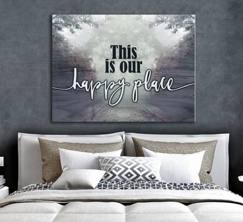 Bedroom Decor Wall Art:  Happy Place (Wood Frame Ready To Hang)