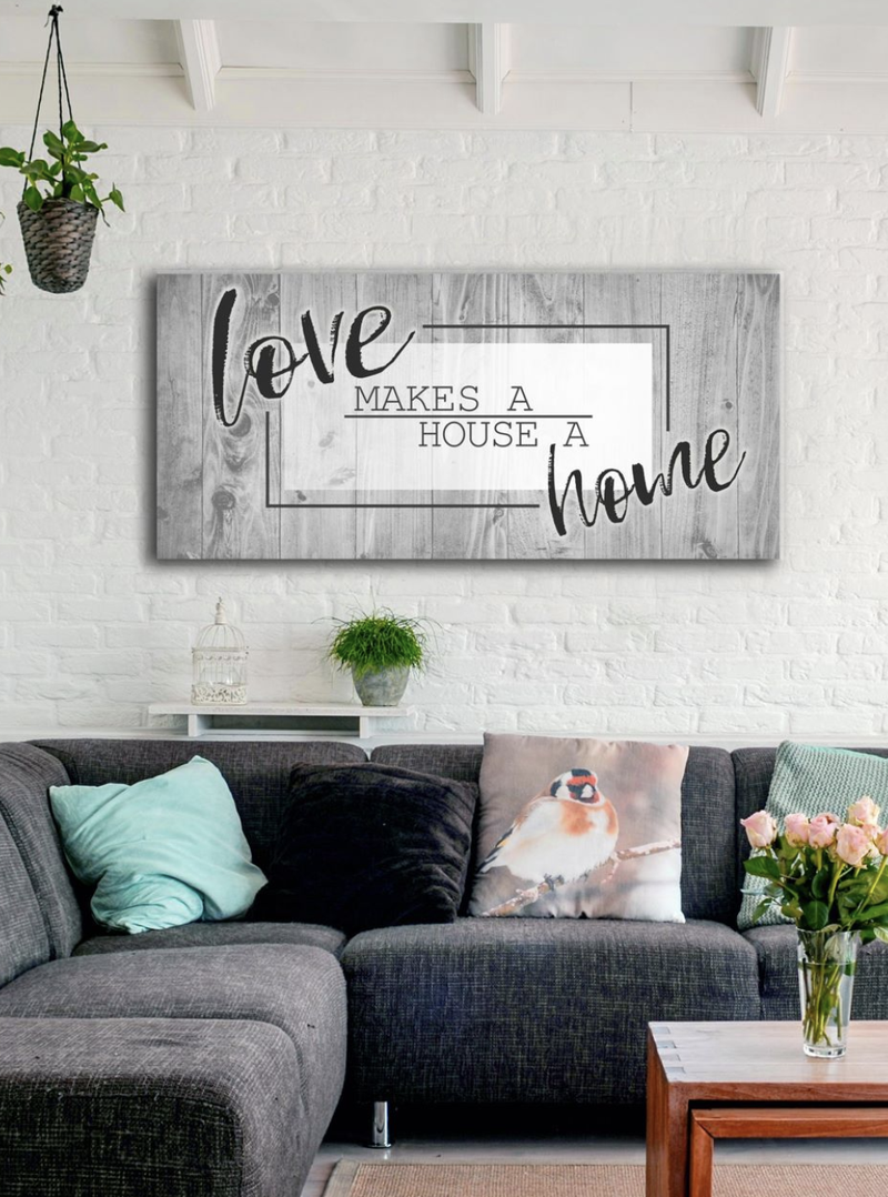 Bedroom Wall Art: Love Makes A Home (Wood Frame Ready To Hang)
