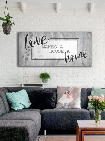 Bedroom Decor Wall Art: Love Makes A Home (Wood Frame Ready To Hang)