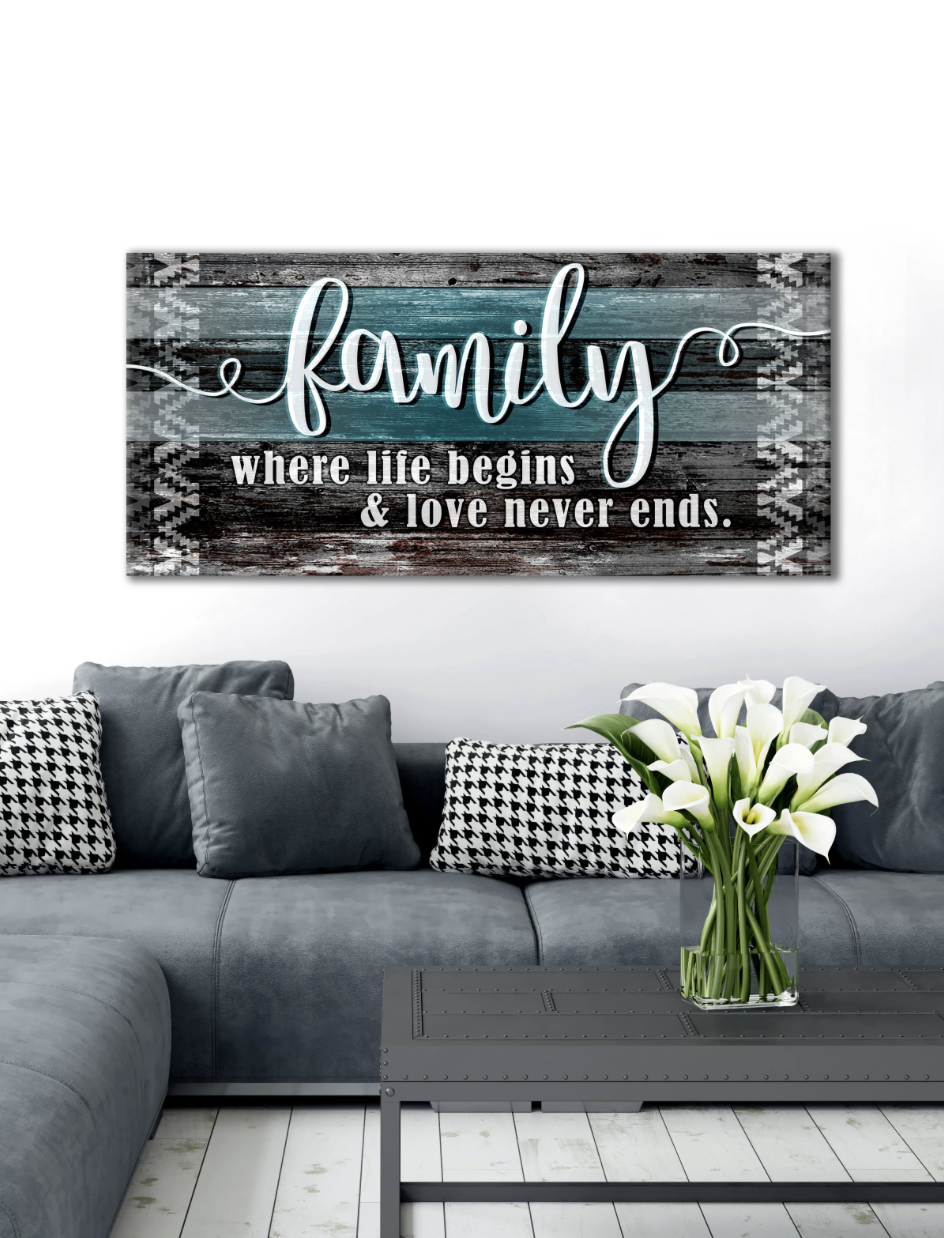 "Home Decor Wall Art: Home Wall Art ""Family is where life begins and love never ends"" (Wood Frame Ready To Hang)"