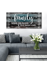 "Home Wall Art: Home Wall Art ""Family is where life begins and love never ends"" (Wood Frame Ready To Hang)"