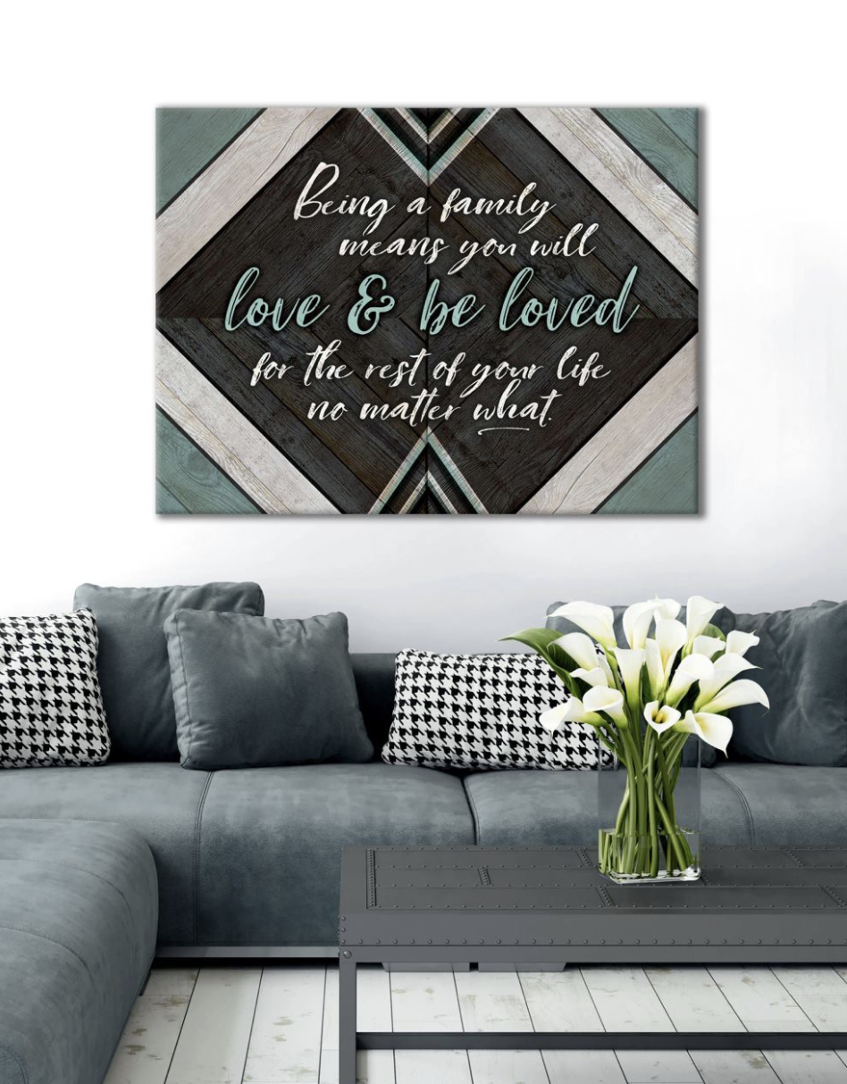 Family Home  Decor Wall Art:  Love & Be Loved (Wood Frame Ready To Hang)