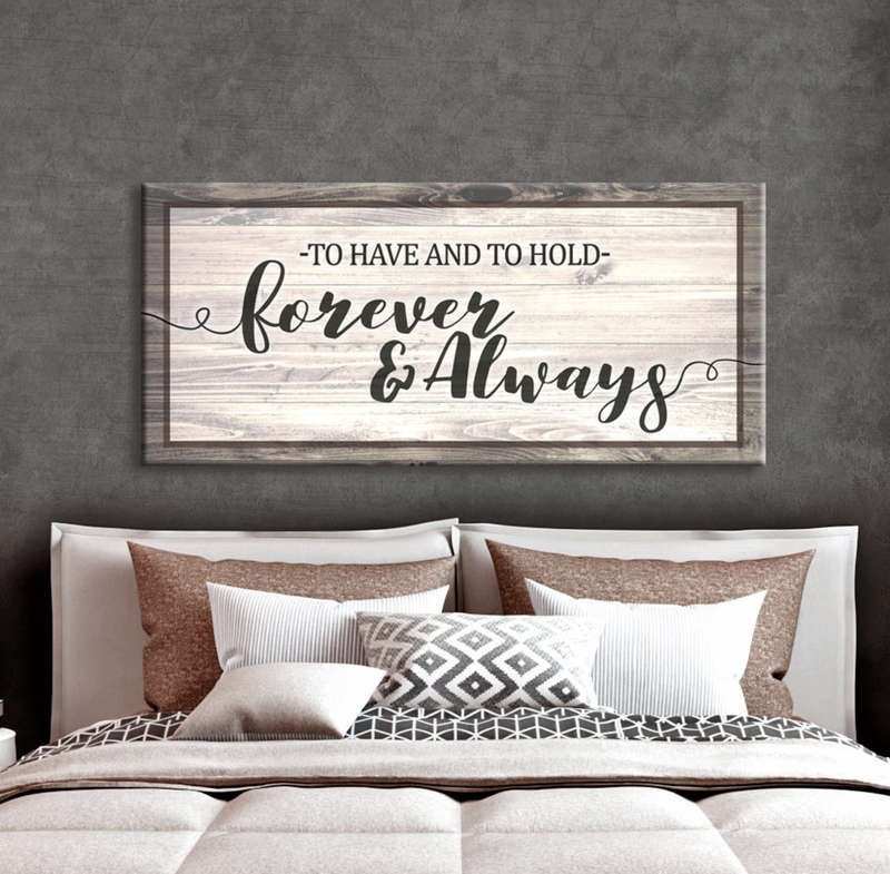 Bedroom Wall Art: Forever And Always (Wood Frame Ready To Hang)