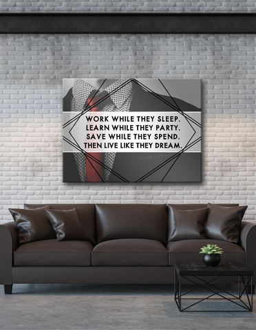 Business Wall Art: Live Like They Dream  (Wood Frame Ready To Hang)