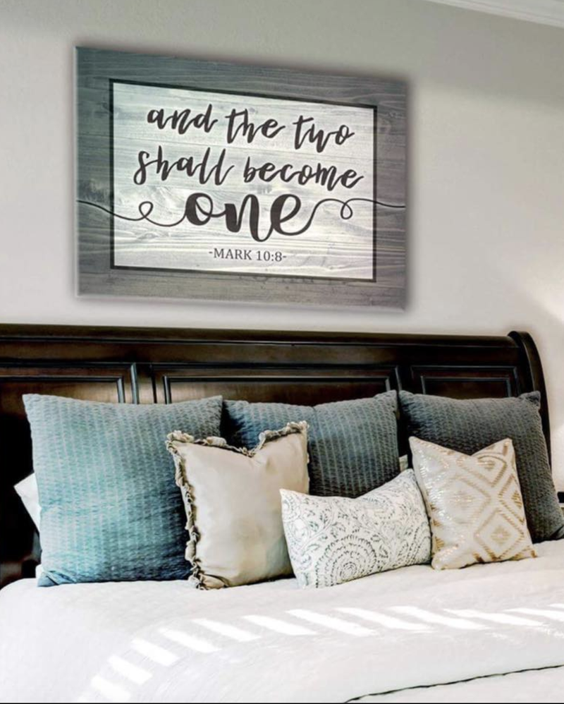 Bedroom Wall Art: Become One Mark 10:8 (Wood Frame Ready To Hang)