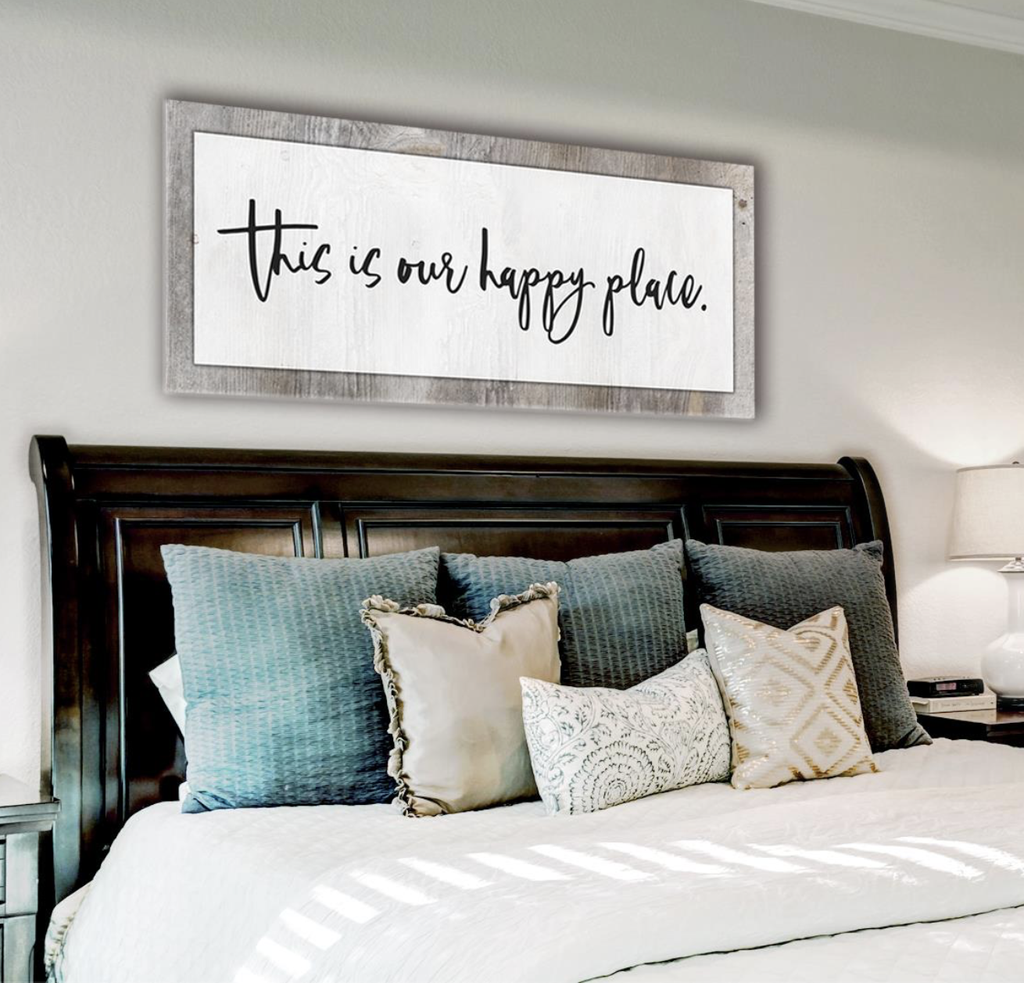 Bedroom Decor Wall Art: Our Happy Place (Wood Frame Ready To Hang)