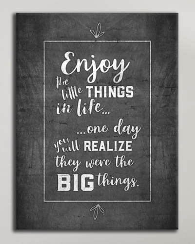 Living Room Wall Art: Enjoy The Small Things (Wood Frame Ready To Hang)