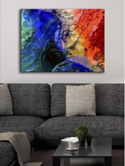 Abstract Decor Wall Art:  Blue River (Wood Frame Ready To Hang)