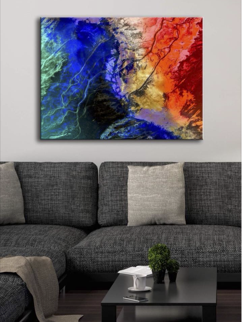 Abstract Wall Art: Blue River (Wood Frame Ready To Hang)