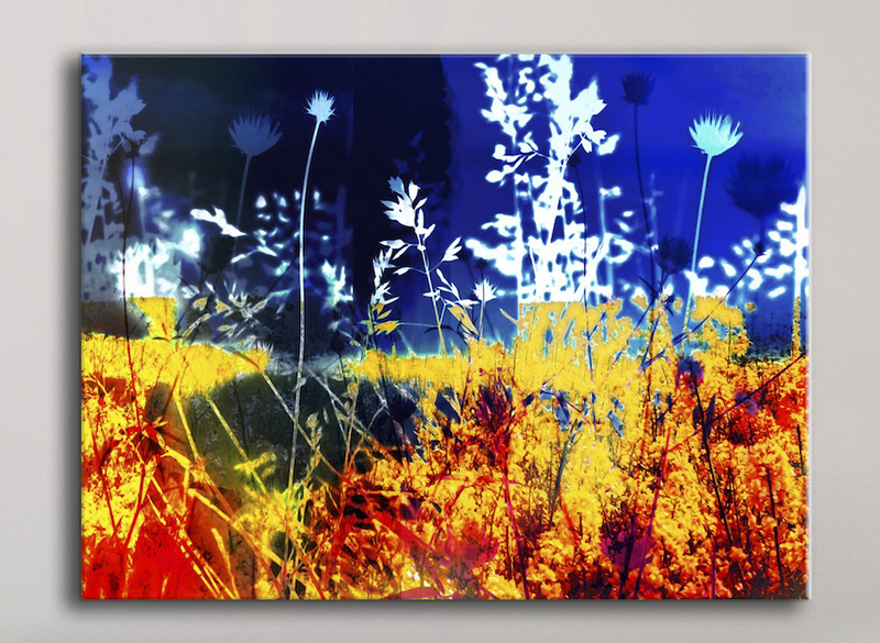 Abstract Wall Art: Yellow Garden (Wood Frame Ready To Hang)