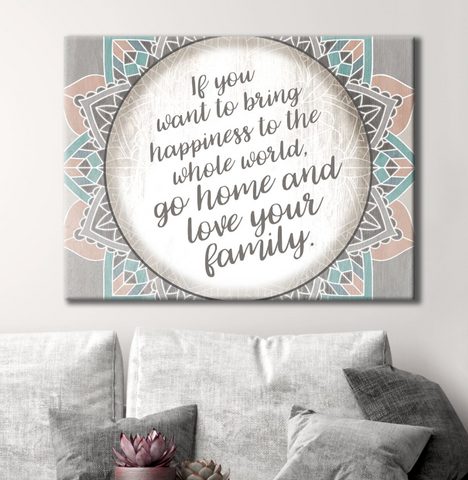 Home Wall Art: Bring Happiness To The Whole World (Wood Frame Ready To Hang)