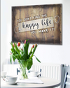 Home Wall Art: Happy Life (Wood Frame Ready To Hang)