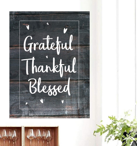 Home Decor Wall Art: Grateful Thankful Blessed (Wood Frame Ready To Hang)