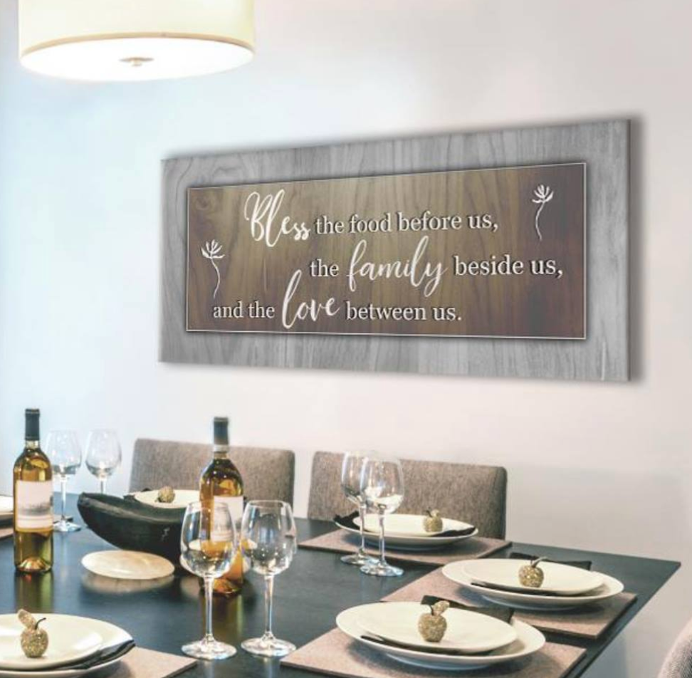 Christian Wall Art: Bless the food before us Wall Art MULTIPLE Colours Available(Wood Frame Ready To Hang)