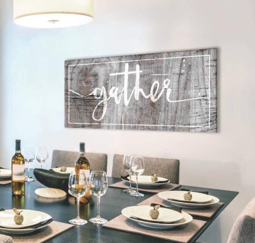 Kitchen Wall Art: Gather Wall Art (Wood Frame Ready To Hang)