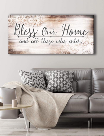Christian Wall Art: Bless Our Home (Wood Frame Ready To Hang)