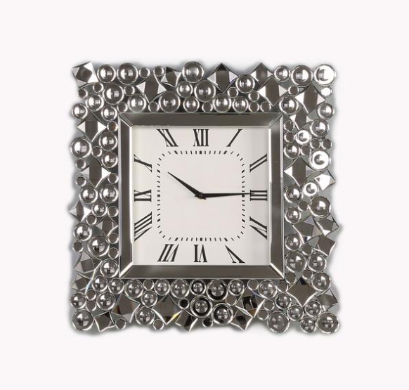 Wall Clock: Wood Wall Clock With Glass Crystal Gems