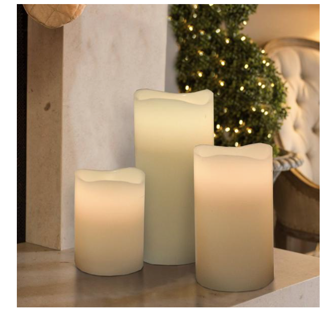 Candle: Trendy 3pc Led Candle-12 Changeable Colors