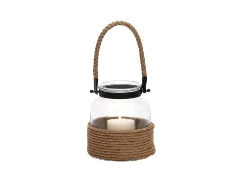 Candle: Contemporary Designed Glass And Rope Metal Lantern With Rope Handle