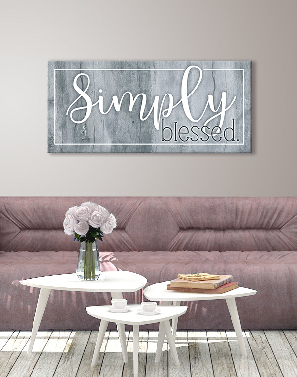 Home Wall Art: Simply Blessed (Wood Frame Ready To Hang)