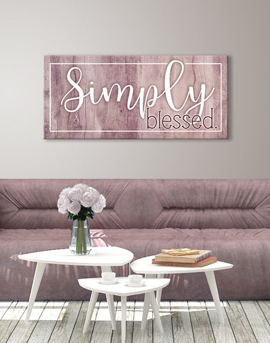 Home Decor Wall Art: Simply Blessed (Wood Frame Ready To Hang)