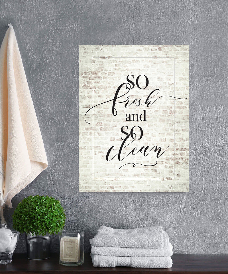 Laundry Room Wall Art: So Fresh So Clean (Wood Frame Ready To Hang)