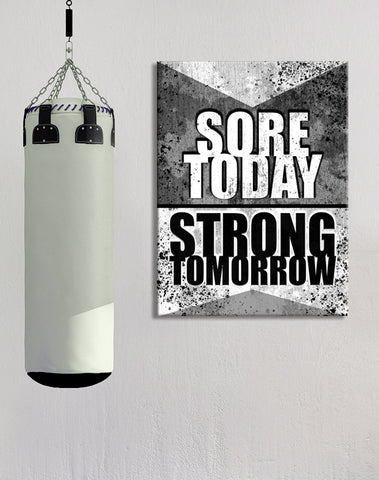 Fitness Wall Art: Sore Today Strong Tomorrow (Wood Frame Ready To Hang)
