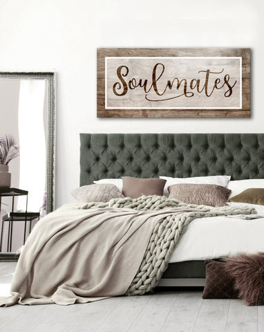 Bedroom Decor Wall Art: Soulmates V2 (Wood Frame Ready To Hang)