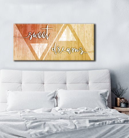 Bedroom Decor Wall Art: Sweet Dreams Large Wall Art 2 Sizes Available  (Wood Frame Ready To Hang)