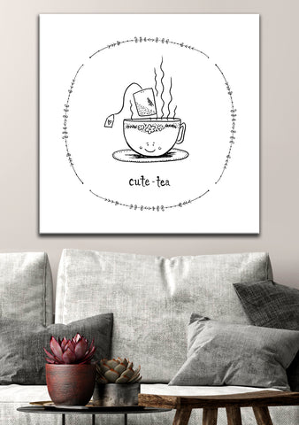 Kitchen Wall Art:  CUTE TEA (Wood Frame Ready To Hang)