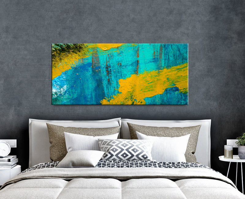Paint Splash Wall Art: Teal Mustard Color Splash Paint (Wood Frame Ready To Hang)