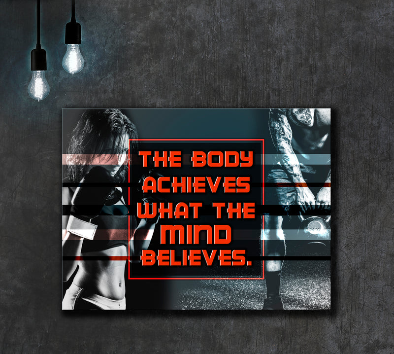 Fitness Wall Art: The Body Achieves (Wood Frame Ready To Hang)