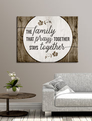 Home Decor Wall Art: The Family That Prays Together (Wood Frame Ready To Hang)
